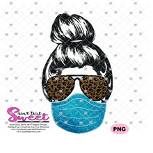 Messy Bun Lady With Masks Sunglasses Job Titles- Transparent PNG, SVG - Silhouette, Cricut, Scan N Cut