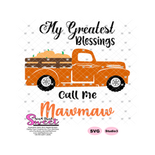 My Greatest Blessings Call Me Mawmaw Plaid Pumpkin Truck - Transparent PNG, SVG  - Silhouette, Cricut, Scan N Cut