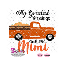 My Greatest Blessings Call Me Mimi Plaid Pumpkin Truck - Transparent PNG, SVG  - Silhouette, Cricut, Scan N Cut