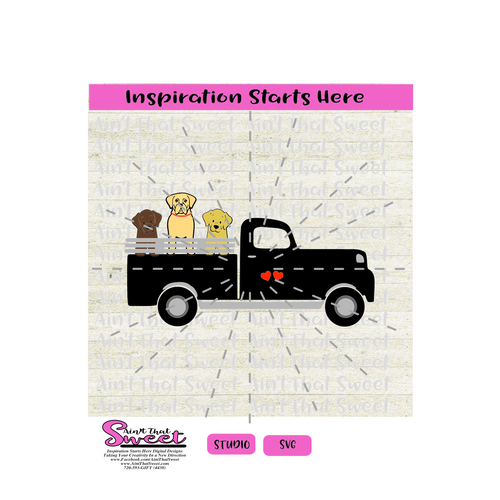 PickUp Truck with Dogs - SVG and Studio Only - Silhouette, Cricut, Scan N Cut