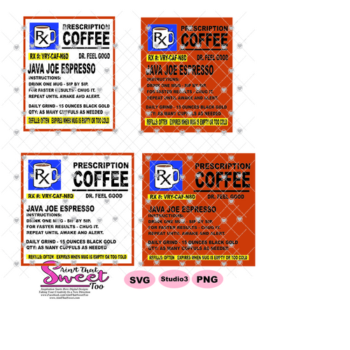 Prescription Bottle Instructions Coffee 15 oz. Mug Image - Transparent PNG, SVG, Studio3 - Silhouette, Cricut, Scan N Cut