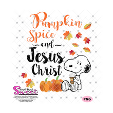 Pumpkin Spice Jesus Christ Dog Drinking Coffee Fall Leaves - Transparent PNG, SVG  - Silhouette, Cricut, Scan N Cut