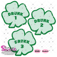 Shamrocks With Drunk 1 Drunk 2 Drunk 3 - Transparent PNG, SVG