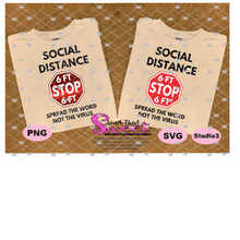 Social Distance - 6 Feet Away, Stop Sign-Spread The Word Not The Virus - Transparent PNG, SVG - Silhouette, Cricut, Scan N Cut