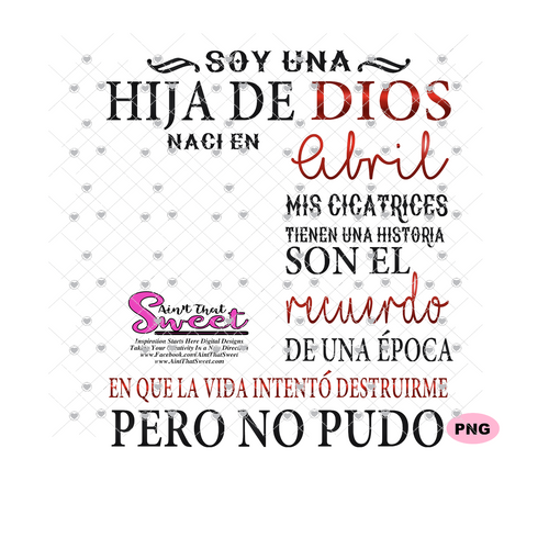 Soy Una Hija De Dios Naci En-Abril-Spanish-Offset - Transparent PNG, SVG - Silhouette, Cricut, Scan N Cut