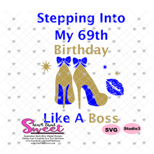 Stepping Into My 69th Birthday High Heel Shoes Gold and Blue -  Transparent PNG, SVG