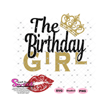 The Birthday Girl with Crown and Lips - Transparent PNG, SVG  - Silhouette, Cricut, Scan N Cut