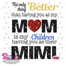 The Only Thing Better Than Having You As My Mom Is Having My Children Have You As Their Mimi - Transparent PNG, SVG