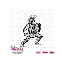 Male Warrior with a Sword and Shield- Silver - Transparent PNG, SVG  - Silhouette, Cricut, Scan N Cut