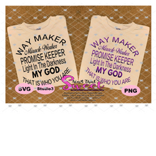 Way Maker Miracle Worker Promise Keeper - Transparent PNG, SVG - Silhouette, Cricut, Scan N Cut