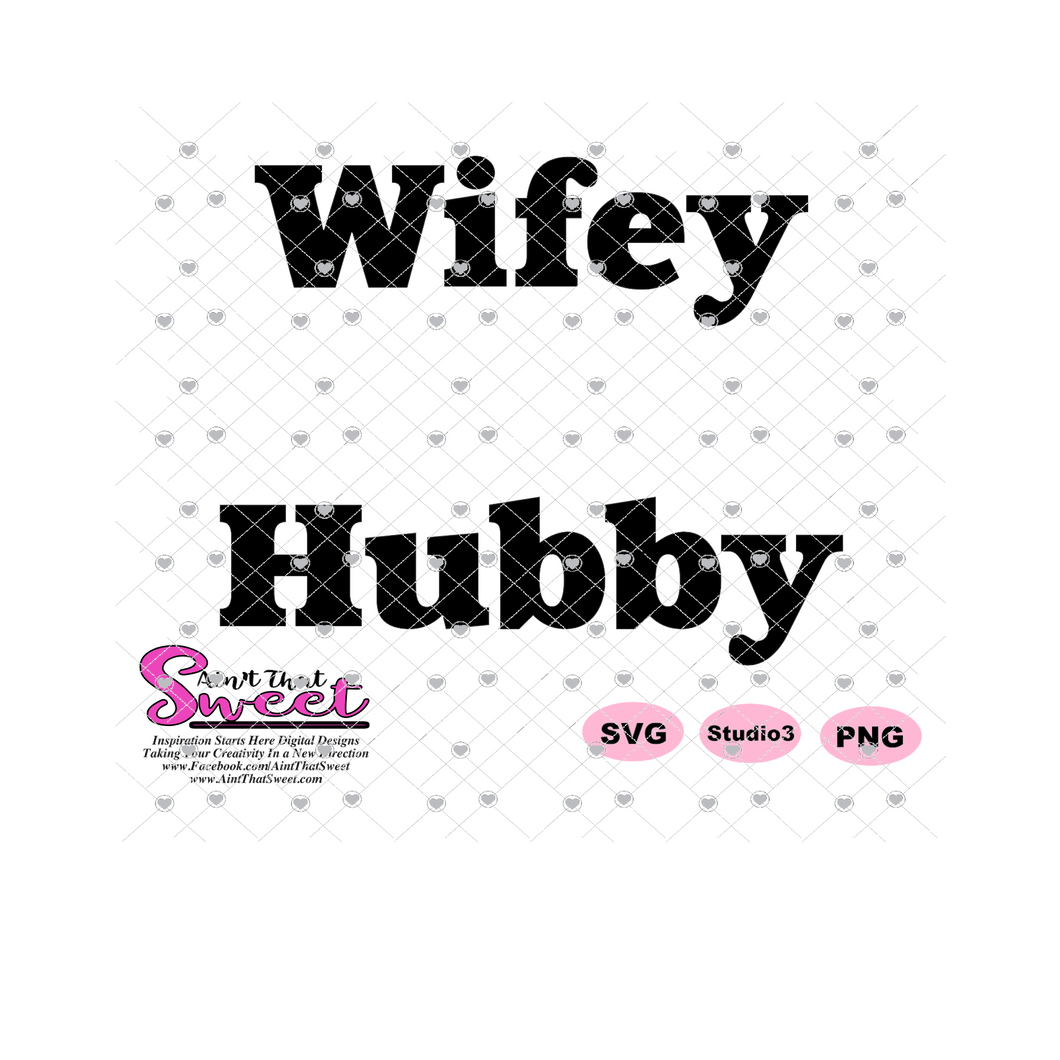 Wifey Hubby - Two shirt design - Transparent PNG, SVG - Silhouette, Cricut, Scan N Cut