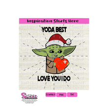 Yoda Best Santa Hat and Heart - Transparent PNG, SVG  - Silhouette, Cricut, Scan N Cut