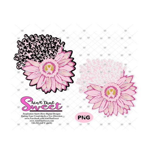 Breast Cancer Daisy With Floating Ribbons - Transparent PNG, SVG  - Silhouette, Cricut, Scan N Cut