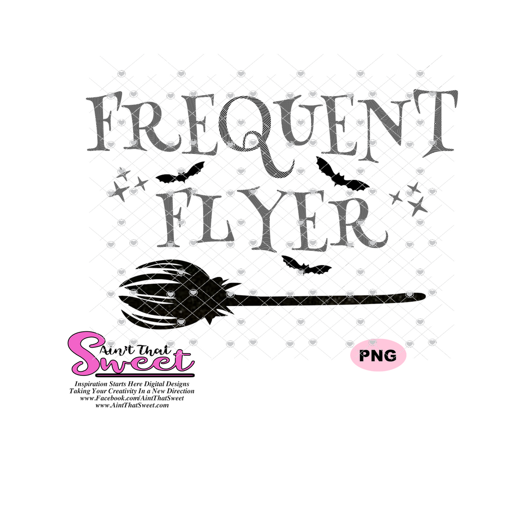 Frequent Flyer With Broom and Bats - Transparent SVG-PNG  - Silhouette, Cricut, Scan N Cut