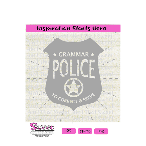 Grammar Police To Correct & Serve, with Stars - Transparent PNG, SVG  - Silhouette, Cricut, Scan N Cut