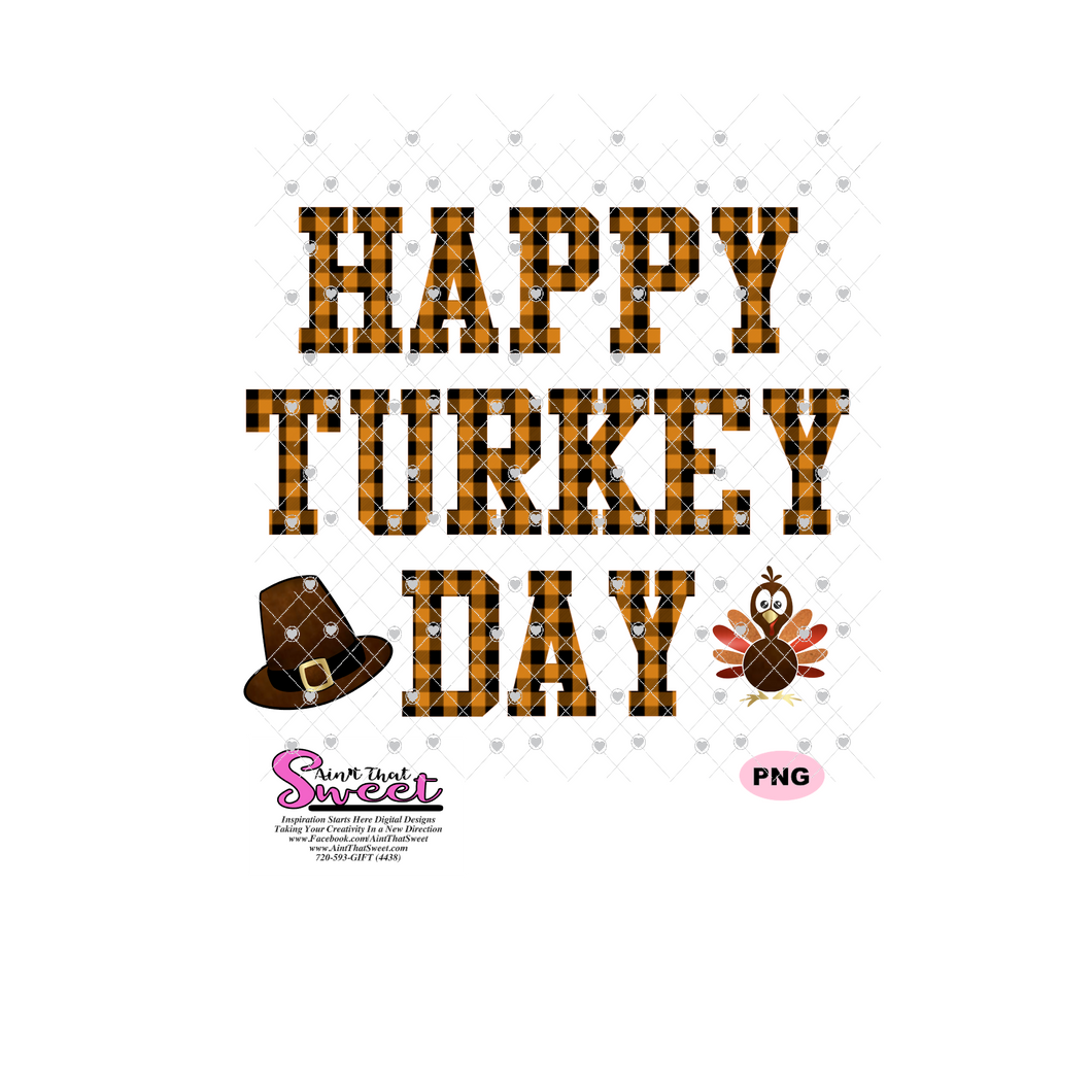 Happy Turkey Day with Turkey and Pilgrims Hat - Transparent SVG-PNG  - Silhouette, Cricut, Scan N Cut