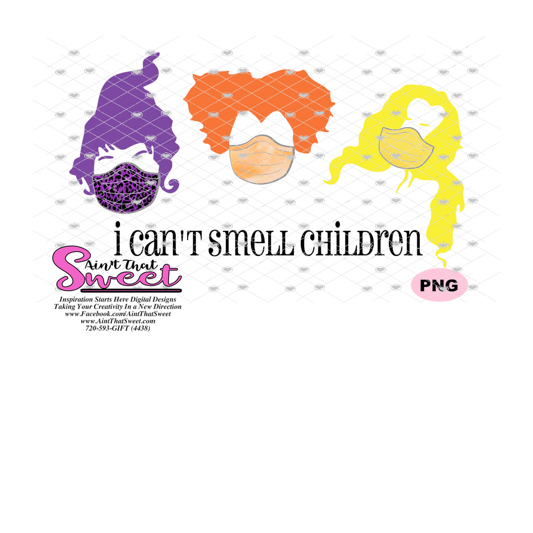 I Can't Smell Children - Three Sisters with Masks - Transparent SVG-PNG  - Silhouette, Cricut, Scan N Cut