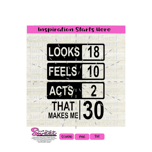Looks 18 Feels 10 Acts 2 That Makes Me 30  - Transparent PNG, SVG - Silhouette, Cricut, Scan N Cut