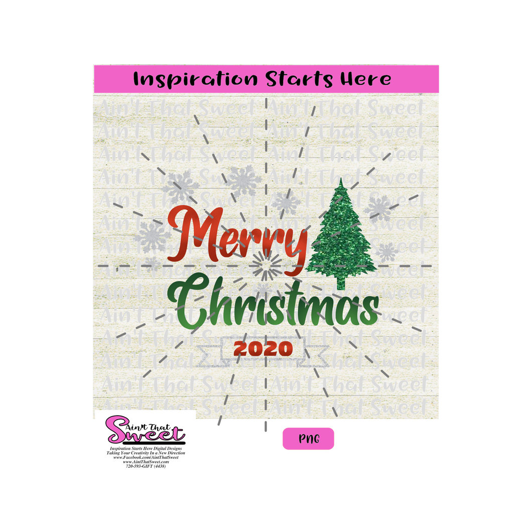 Merry Christmas 2020 With Snowflakes and Christmas Tree - Transparent PNG, SVG  - Silhouette, Cricut, Scan N Cut