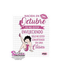 Nacida En Octobre Yo No Estoy Envejeciendo - Winking Girl- Spanish - Transparent PNG, SVG  - Silhouette, Cricut, Scan N Cut