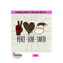 Peace Love Santa -Transparent PNG, SVG  - Silhouette, Cricut, Scan N Cut