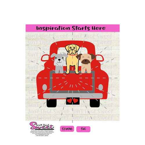 PickUp Truck Back with Dogs - SVG and Studio Only - Silhouette, Cricut, Scan N Cut