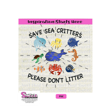 Save Sea Critters Please Don't Litter-Transparent PNG, SVG  - Silhouette, Cricut, Scan N Cut