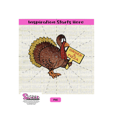 Turkey Holding A Sign That Says Order A Pizza - Transparent PNG, SVG  - Silhouette, Cricut, Scan N Cut