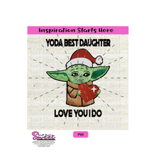 Yoda Best Daughter Santa Hat and Heart - Transparent PNG, SVG  - Silhouette, Cricut, Scan N Cut