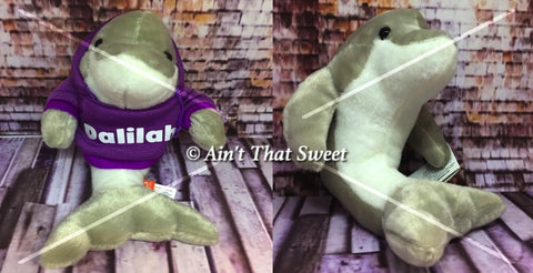 "Personalize This! Plush Dolphin ""Lovie"" Stuffed Animal with Personalized Hoodie"