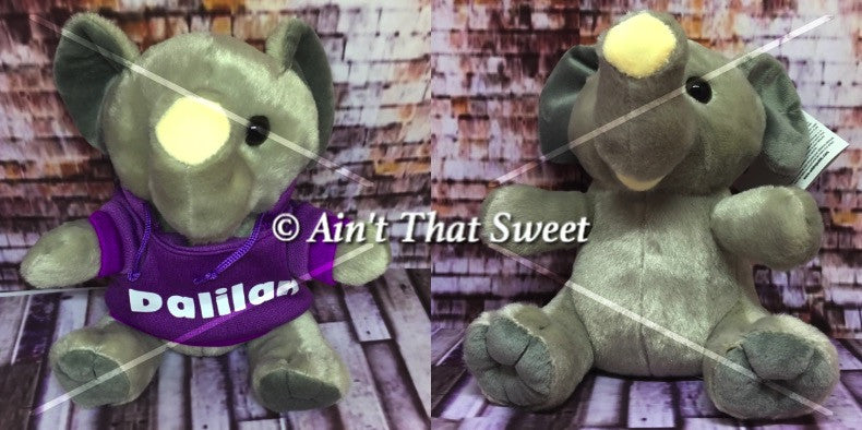 "Personalize This! Plush Elephant ""Lovie"" Stuffed Animal with Personalized Hoodie"