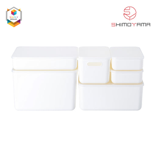 Shimoyama Large White Flat Storage Box with Lid