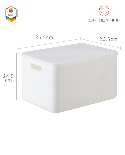 Shimoyama Large White Handled Storage Box with Lid