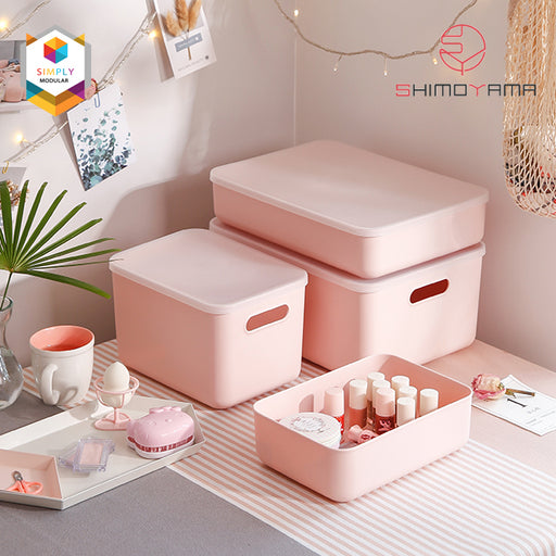 Shimoyama Small Pink Handled Storage Box with Lid