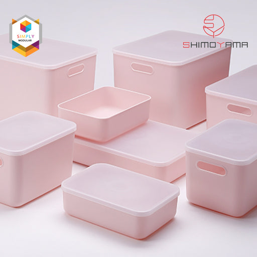 Shimoyama Middle Pink Handled Storage Box with Lid