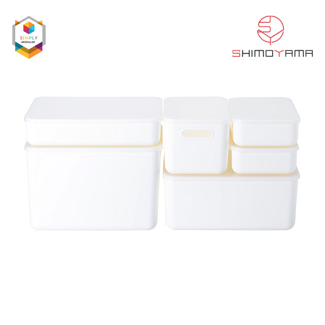 Shimoyama Medium White Handled Storage Box with Lid
