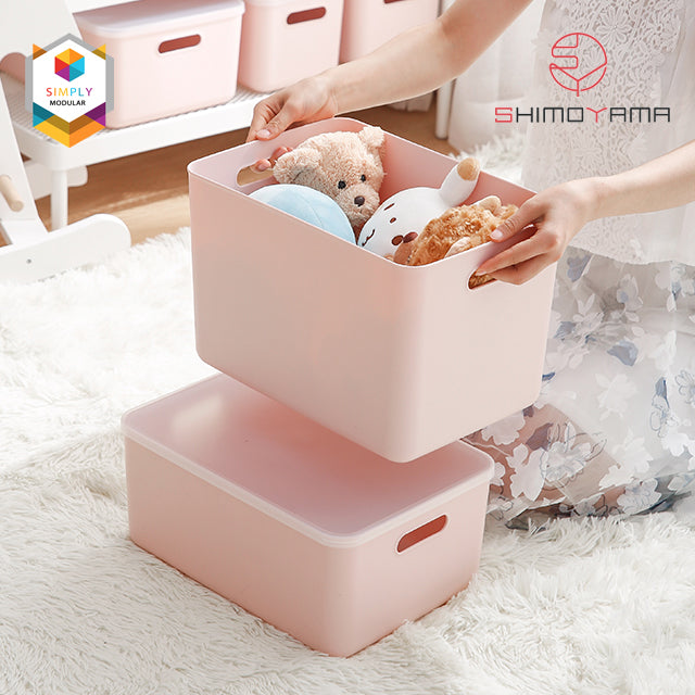 Shimoyama Large Pink Handled Storage Box with Lid