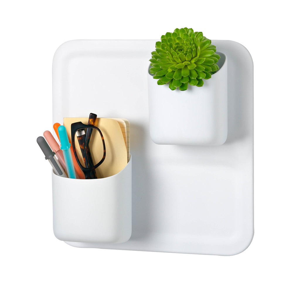 Perch 3-Piece Magnetic Wall Storage System, White