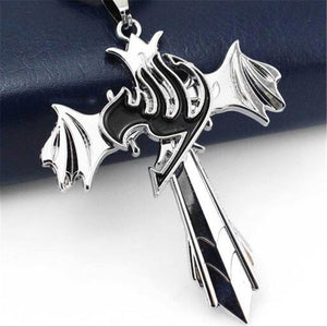 Fairy Tail, Silver Cross Wing Pendant - Animeleaf
