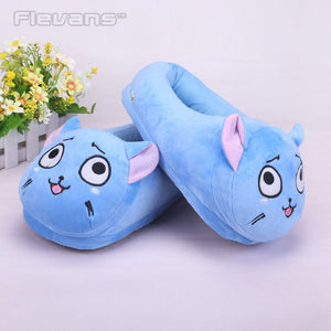 Happy the Cat Plush Slippers - Animeleaf