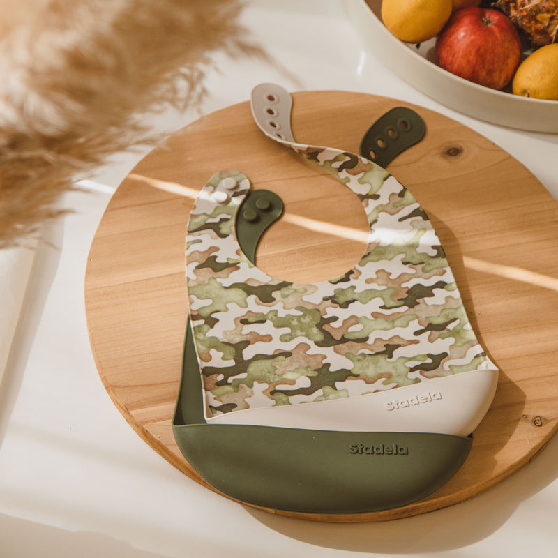 Best baby bibs, gift for baby shower, birthday, Christmas, forest green, green, brown, beige with camouflage, camo, eco friendly, sustainable, silicone bibs, baby led weaning, 6 months baby essentials, starting solids, shop small, toddler must haves, neutral design for baby girl or baby boy, easy clean up