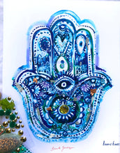 Blue Hamsa with glitter