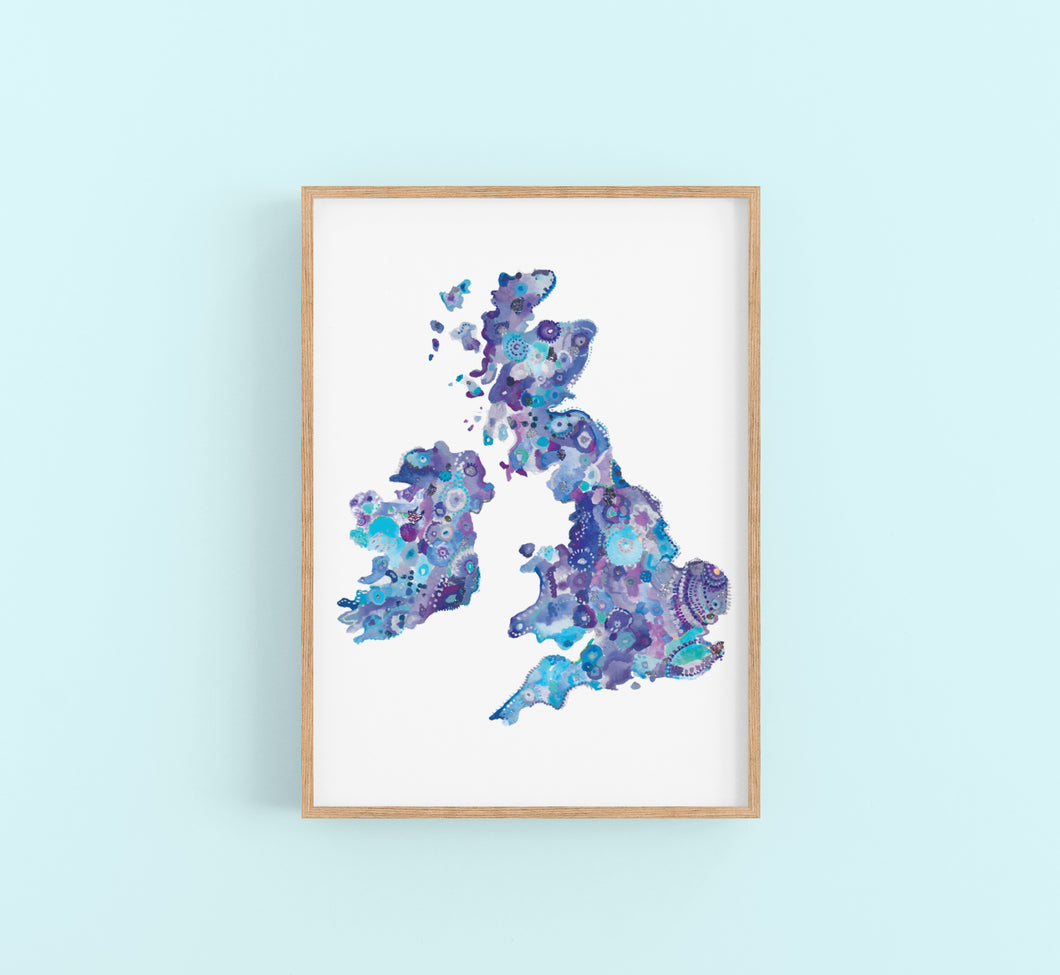 UK Map Blue