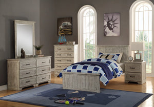 Donco Kids Twin Panel Bed Driftwood 001TD-Panel Beds-HipBeds.com