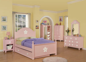 ACME Floresville Twin Bed Pink (White Flower) - 00735T-Panel Beds-HipBeds.com