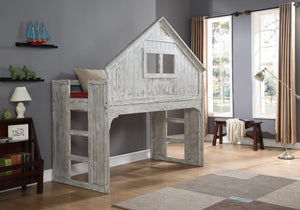 Donco Kids Club House Low Loft Bed Driftwood 007D-Loft Beds-HipBeds.com