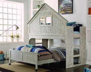 Donco Kids Club House Full Caster Bed Driftwood 008FD-Minimalist Beds-HipBeds.com