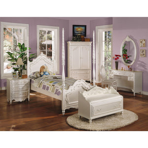 ACME Pearl Full Bed (Poster) Pearl White & Gold Brush Accent - 00995F-Canopy Beds-HipBeds.com
