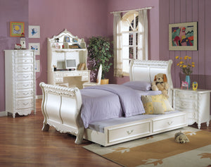 ACME Pearl Twin Bed (Sleigh) Pearl White & Gold Brush Accent - 01010T-Sleigh Beds-HipBeds.com
