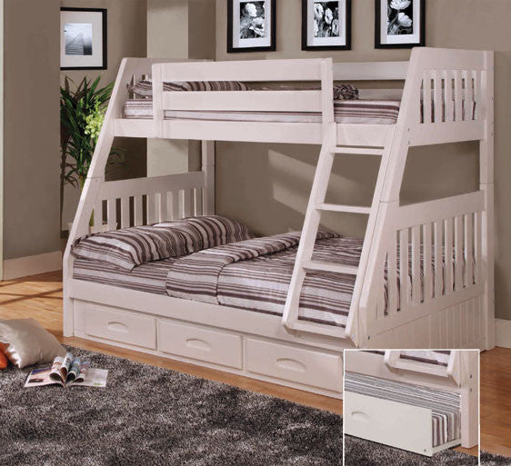 Donco Kids Twin/Full Mission Bunk Bed White 0218-W